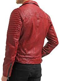 fashion leather biker jacket red