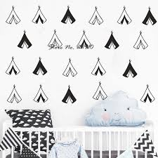 Teepee Wall Decals Adorable Nursery Vinyl Decals Gold Decals Modern Unique Decals Tribal Nursery Decor For Gifts And More D997 Nursery Decor Wall Decalsdecoration For Gift Aliexpress