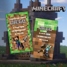 Minecraft Invitacion Digital Cumpleanos 100 00 En Mercado Libre