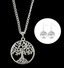 tree of life pendant necklace earring