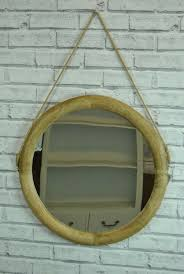 wall mirror large round wood framed