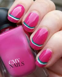 minimal striped pink nails lacquer lit