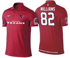 Texans #82 Wendall Williams Red Polo Shirt