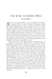 The Music of George Perle