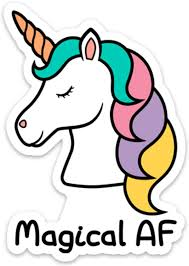 Amazon Com Unicorn Sticker Decal Vinyl Magical Af 4 X 2 8 Funny For Laptop Cell Phone Water Bottle Computers Accessories
