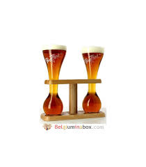 wooden stand with 2 kwak gles