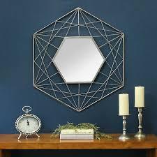 handcrafted modern hexagon wall mirror