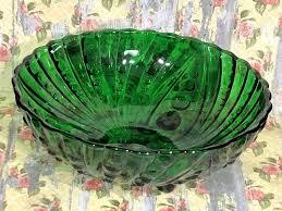serving bowl vintage forest green