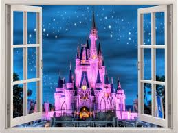 disney castle 3d window wall sticker