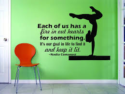 Amazon Com Gymnastics Wall Decals For Girls Bedroom Gymnastics Vinyl Art For Girl Rooms Gym Exercise Motivational Quotes For Female Sports United States Olympics Nadia Comaneci Look Quote Size20x20