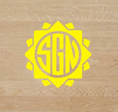 Sunshine Initial Decal Decal Yeti Decal Sticker Etsy