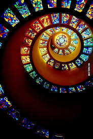 spiral stained glass ceiling in