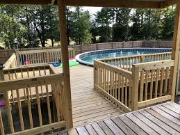 We Built This Deck Off The Existing Porch Pool By Azure Pools In Ruston Louisiana 30 Round Pool Pool Deck Plans Pool Decks Above Ground Pool Decks