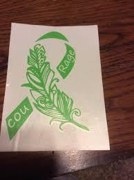 Lime Green Feather Awareness Ribbon Lymphoma Lyme Disease Etsy