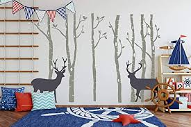 Amazon Com Large Family Tree Wall Decals 7 Sets Birch Tree Wall Decals Birds Wall Stickers Vinyl Wall Art Mural For Kids Baby Nursery Room Decoration Grey Arts Crafts Sewing