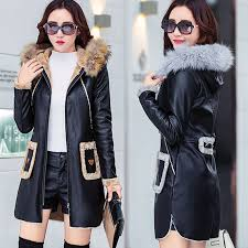 winter faux leather trench jacket women
