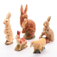 Priscilla Harrison Chalkware Rabbit and Lamb Figurines | EBTH