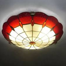 round shape red stained glass tiffany 3