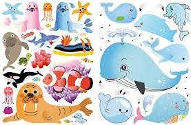 Amazon Com Whales And Other Sea Life Window Decals For Kids Double Sided Removable Wall And Window Clings For Toddlers Angel Fish Dolphin Ocean Perfect For Glass Walls Planes Classrooms Bedrooms Toys