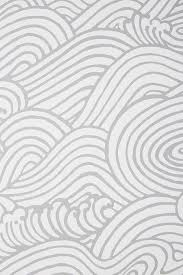 Mare Gray White Wave Pattern Wallpaper