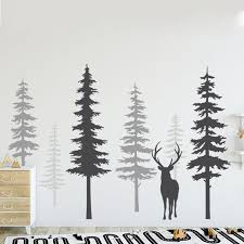 High Quality Nursery Wall Decal Pine Tree Wall Stickers Large Deer Wall Decal Removable Nursery Tree Mural Nature Decals Zw491 Cj191213 Wall Stickers For Kids Bedrooms Wall Stickers For Kids Rooms From