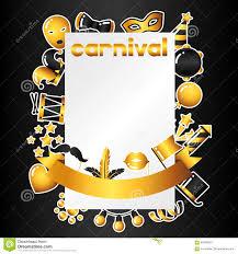 Tarjeta De La Invitacion Del Carnaval Con Los Iconos Y Los Objetos