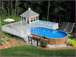 swimming pools with deck round designs