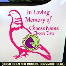 Pigeon Bird Memorial Add Your Custom Words Vinyl Decal Sticker Gorilla Decals