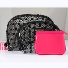 cosmetic bags black pink waterproof pvc