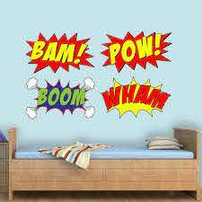Vwaq Comic Book Set Of 4 Wall Decal Bam Pow Boom Wham Superhero Vinyl Wall Art Peel And Stick Kids Room Stickers Cb5 10 H X 16 W Walmart Com Walmart Com