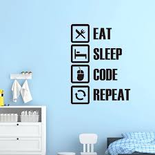 Vinyl Wall Sticker Eat Sleep Code Repeat Mural Art Decal Wallpaper For Living Room Home Decor House Decoration Poster Wall Stickers Aliexpress