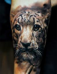 3D Tiger Head Tattoo On Sleeve