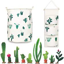 Amazon Com Cactus Decor Set 3pce Laundry Basket Hanging Storage Bag Cactus Wall Decal Waterproof Collapsible Matching Cactus Print Laundry Hamper 3 Pocket Hanging Organizer Ideal For Baby Cactus