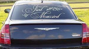 Amazon Com Just Married Car Window Wedding Vinyl Decal Wall Art Love Infinity Forever Mr And Mrs Home Kitchen