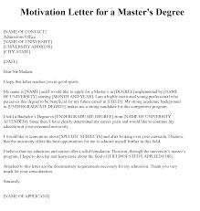motivation letter for master degree