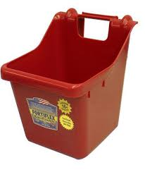 Red Fortiflex Hook Over Fence Feeder For Dogs Cats And Horses 16 Quart