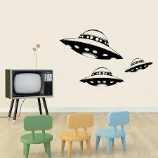 3 Alien Spaceship Vinyl Wall Decals Ufo Interior Design Sticker Art Room Home Decor Wl1581 Wall Stickers Aliexpress