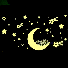 Glow In Dark Moon Star Luminous Stickers Removable Wall Sticker Vinyl Decal Mural Kids Room Decor Sale Banggood Com