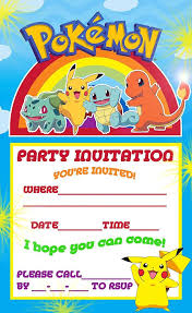 Pokemon Pikachu Party Invite Con Imagenes Cumpleanos De