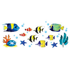 Sea Coral Tropical Fishes Set Wirester Decal Vinyl Wall Stickers Decoration For Boys Girls Kids Room Bedroom Home Office Living Room Wall Bathroom 12 X 6 Inches Walmart Com Walmart Com