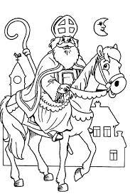 Sinterklaas Kleurplaat Sint Paard Staf Maan Huizen Kleurplaten