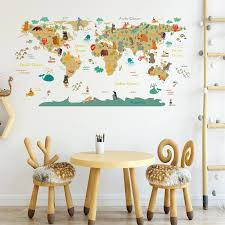 Cartoon Animal World Map Wall Sticker Diy Wallpaper Kids Room Home Decor Wall Decals Bedroom Decorative Nursery Poster Wall Stickers Aliexpress