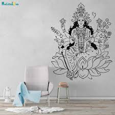 Large Size God Vinyl Wall Decal Indian Goddess Hinduism Lotus Om Meditation Stickers Cool Exquisite Poster Yt4190 Wall Stickers Aliexpress