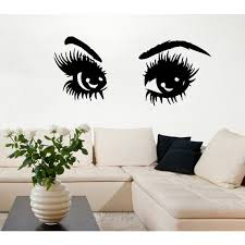 Shop Sexy Eyes With Long Lashes Beauty Salon Woman Vinyl Sticker Mural Art Make Up Stickers Sticker Decal Size 48x76 Color Black Overstock 14732688