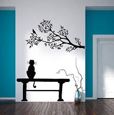 Amazon Com Wall Decals Cat Bench Nature Tree Branch Leaves Bird Trees Vinyl Decal Sticker Home Decor Bedroom Living Room Nursery Murals S99 Kitchen Dining