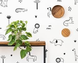 Jungle Animal Wall Decals Safari Nursery Wall Art Removable Wall Stickers Kids Room Decor Tropical Jungle Wall Decor