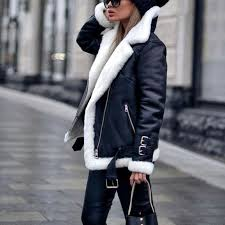 faux fur lined leather shearling moto