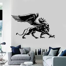 Griffin Eagle Lion Wings Fantasy Beast Bird Prey Vinyl Wall Decal Home Living Room Bedroom Art Decoration Sticker Mural Sl12 Wall Stickers Aliexpress