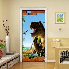 Shop 3d Cartoon Dinosaur Animal Wallpaper 3d Mural Wall Stickers Kids Bedroom Door Home Decor Pvc Waterproof Door Mural 77cmx200cm Online From Best Wall Stickers Murals On Jd Com Global Site