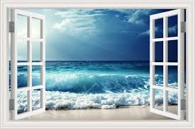 3d Hot Window Frame Cloudy Sea Wave Window Mural Vinyl Bedroom Vinyl Wallpaper Wall Decals Stickers Christmas Wall Sticker Wall Stickers Aliexpress
